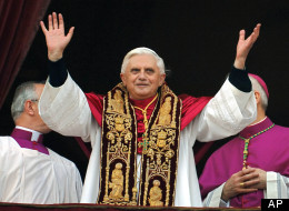 Pope Benedict XVI greeting the crowd from the central balcony of St. Peter's Basilica moments after being elected, at the Vatican on April 19, 2005.