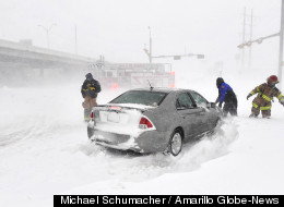 Winter storm 'Rocky' caused whiteout conditions in Texas Monday.