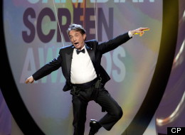 Martin Short flies through the air as he hosts the Canadian Screen Awards in Toronto on Sunday, March 3, 2013. (THE CANADIAN PRESS/Frank Gunn)