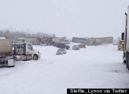 More than 300 were taken to hospital following highway pileups during driving storms in central and northern Alberta. (Steffie Williams ‏@Steffie_Lynnn via Twitter)