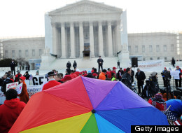 Supporters of same-sex marriage gather in front of the U.S. (JEWEL SAMAD/AFP/Getty Images)