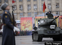 A World War II-era Red Army's T-34-85 tank rolls during a military parade marking the 70th anniversary of the Stalingrad Battle, in the Russian city of Volgograd, formerly Stalingrad, on February 2, 2013. (MIKHAIL MORDASOV/AFP/Getty Images)