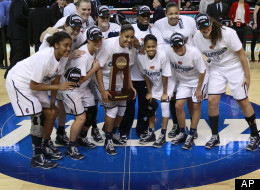 Connecticut players pose after beating Kentucky in the women's NCAA regional final basketball game in Bridgeport, Conn., Monday, April 1, 2013. Connecticut won 83-53 and advances to the Final Four. (AP Photo/Charles Krupa)