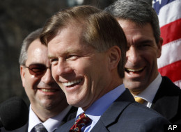 In this Jan. 10, 2013 file photo, Virginia Gov. Bob McDonnell, center, accompanied by Lt. Gov. Bill Bolling, left, and Attorney General, Ken Cuccinelli, right, speaks in Richmond, Va. Virginia is conducting nothing short of a grand political experiment, testing whether a tea party favorite can carry a closely divided state.