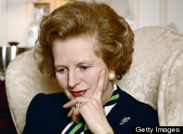 Margaret Thatcher, and her hand, in 1987