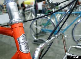 A closeup of a Shinola bike at the Detroit Bike City event in March 2013. The new bike, watch and leather goods manufacturer will open a storefront in Midtown Detroit that will be both a shop and gathering space. (Brian Ambrozy/Shinola)