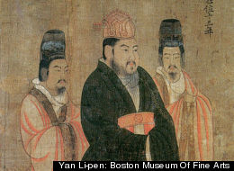 Detail of the Thirteen Emperors Scroll, created in the 7th century, showing Emperor Yang of Sui