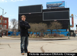 Logan Square resident Andrew Schneider started a petition against these billboard frames overlooking a historic landmark district in Logan Square. (DNAInfo/Victoria Johnson)