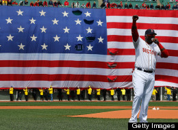 David Ortiz speaks during a pre-game ceremony at Fenway Park.