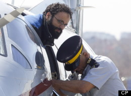 Terror suspect Chiheb Esseghaier arrives at Buttonville Airport just north of Toronto on Tuesday, April 23, 2013. Esseghaier is accused with another man of plotting to derail a train in Canada with support from al-Qaida elements in Iran. THE CANADIAN PRESS/Frank Gunn