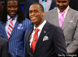 Geno Smith of the West Virginia Mountaineers stands on stage prior to the start of the first round of the 2013 NFL Draft at Radio City Music Hall on April 25, 2013 in New York City.
