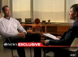 NBA basketball veteran Jason Collins, left, talks with television journalist George Stephanopoulos, Monday, April 29, 2013, in Los Angeles.