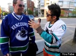 YouTube sensation Peter Chao takes to the streets of Vancouver to troll Canucks fans before Friday's playoff game. (YouTube)
