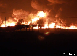 One person is dead after a freight train carrying toxic chemicals derailed and several cars caught on fire near the Belgian city of Ghent Saturday. (Getty Images)