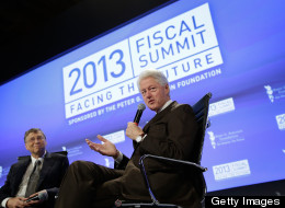Former U.S. President Bill Clinton (R), founder of the William J. Clinton Foundation, and Bill Gates (L), co-chairman and trustee of the Bill & Melinda Gates Foundation, participate in an event sponsored by the Peter G. Peterson Foundation at the Mellon Auditorium May 7, 2013 in Washington, D.C. (Photo by Win McNamee/Getty Images)