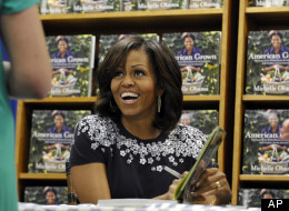 Before she took a seat and started signing books, the first lady told patrons to