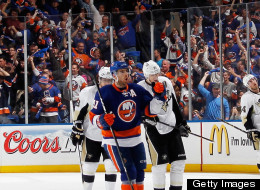 John Tavares of the New York Islanders celebrates his goal at 10:11 of the third period against the Pittsburgh Penguins in Game Four of the Eastern Conference Quarterfinals during the 2013 NHL Stanley Cup Playoffs at the Nassau Veterans Memorial Coliseum on May 7, 2013 in Uniondale, New York. (Photo by Bruce Bennett/Getty Images)