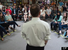 British Columbia NDP Leader Adrian Dix speaks to students at Westsyde Secondary School during a town hall election campaign stop in Kamloops B.C. on April 22. British Columbians go to the polls for a provincial election May 14. (THE CANADIAN PRESS/Darryl Dyck)