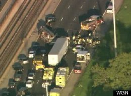 Illinois State Police say a semi tractor-trailer and at least two cars collided early Monday on the Kennedy Expressway. (WGN).