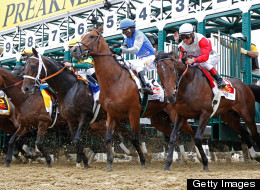 Orb #1, ridden by Joel Rosario, breaks the gate to start the 138th running of the Preakness Stakes at Pimlico Race Course on May 18, 2013 in Baltimore, Maryland.