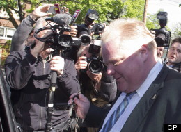 Toronto Mayor Rob Ford leaves his home on Friday May 17, 2013, after published reports said a video appears to show Ford smoking crack cocaine. Ford called the allegations ridiculous. THE CANADIAN PRESS/Chris Young