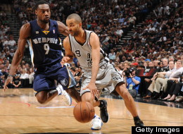 Tony Parker #9 of the San Antonio Spurs drives against Tony Allen #9 of the Memphis Grizzlies during Game One of the Western Conference Finals between the Memphis Grizzlies and the San Antonio Spurs during the 2013 NBA Playoffs on May 19, 2013 at the AT&T Center in San Antonio, Texas.