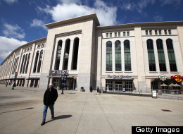 A man walks in front of Yankee Stadium in the Bronx, New York. (Getty Images)