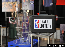 NBA basketball players, from left, Detroit Pistons' Andre Drummond, Portland Trailblazers' Damian Lillard and New Orleans Pelicans' Anthony Davis mingle onstage before the NBA basketball draft lottery, Tuesday, May 21, 2013 in New York. (AP Photo/Jason DeCrow)
