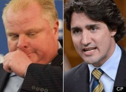 Federal Liberal Leader Justin Trudeau responded to the anti-gay slur Toronto Mayor Rob Ford allegedly uttered against him. (CP)