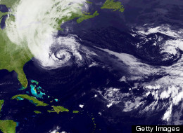 Hurricane Sandy churns off the East Coast on October 28, 2012. (Photo by NASA via Getty Images)