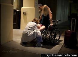 Amy Beth Cavaretta grips a wheelchair as she gives birth before making it inside a Boca Raton hospital. (PHOTO: Emily Robinson)