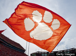 A Clemson flag is seen during a game between the Furman Paladins and the Clemson Tigers at Memorial Stadium on September 15, 2012 in Clemson, South Carolina. (Photo by John Powell/Replay Photos via Getty Images)