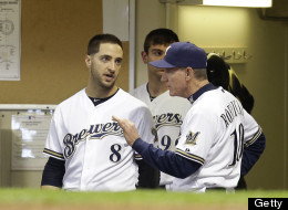 Ryan Braun #8 of the Milwaukee Brewers talks to Manager Ron Roenicke #10 in the top of the fourth inning against the Oakland Athletics during the interleague game at Miller Park on June 04, 2013 in Milwaukee, Wisconsin.
