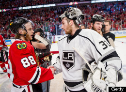 Patrick Kane #88 of the Chicago Blackhawks and goalie Jonathan Quick #32 of the Los Angeles Kings shake hands after the Blackhawks defeated the Kings to become the 2013 Western Conference Champions in Game Five of the Western Conference Final during the 2013 Stanley Cup Playoffs at the United Center on June 08, 2013 in Chicago, Illinois.
