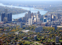 Aerial view of Detroit, Michigan, on the Detroit River, looking south. A judge overturned challenges to Detroit's bankruptcy filing Wednesday, June 24, clearing the way for the case to go to federal court.