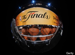 MIAMI, FL - JUNE 9: A shot of the official basketballs before Game Two of the 2013 NBA Finals between the San Antonio Spurs and the Miami Heat on June 9, 2013 at American Airlines Arena in Miami, Florida.