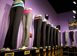 Groove pants sit on display at the Union Square Lululemon retail store in New York, U.S., on Wednesday, Sept. 15, 2010. Photographer: Benjamin Norman/Bloomberg via Getty Images