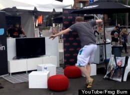 A dance video from LA's E3 Expo shows a random dude busting out some seriously awesome moves in front of the DJ booth. (photo credit: YouTube/Frag Burn)