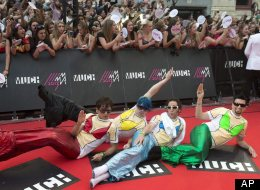 Marianas Trench pose on the red carpet during the 2013 MuchMusic Video Awards in Toronto on Sunday, June 16, 2013. (AP Photo/The Canadian Press, Nathan Denette)