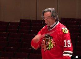Chicago Symphony Orchestra Music Director Riccardo Muti wearing the jersey of Blackhawks Captain, Jonathan Toews. (CSO)