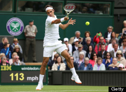 Roger Federer of Switzerland plays a forehand during his gentlemen's singles first round match against Victor Hanescu of Romania on day one of the Wimbledon Lawn Tennis Championships at the All England Lawn Tennis and Croquet Club on June 24, 2013 in London, England. (Photo by Clive Brunskill/Getty Images)