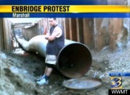 Chris Wahmoff protested the expansion of Enbridge Energy's Line 6B pipeline by climbing inside it Monday.