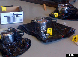 Two Canadian-born citizens have been arrested in what the RCMP described as al-Qaida-inspired plot to blow up the British Columbia legislature on Canada Day, officials with the force announced Tuesday, as they displayed photos of alleged pressure cooker bombs reminiscent of the deadly Boston Marathon bombing. (RCMP)
