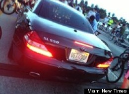 The black Mercedes SL 550 that hit Anthony and Ulises Manzano on Friday. Police traced the license plate to Dr. Irvin Willis, according to an accident report.