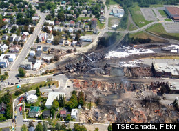 Damage from Lac Megantic, Quebec as seen from above.