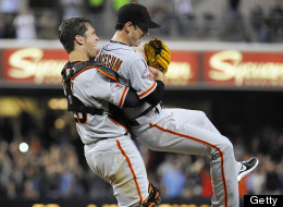Tim Lincecum #55 of the San Francisco Giants is lifted by Buster Posey #28 after pitching a no-hitter during a  baseball game against the San Diego Padres at Petco Park on July 13, 2013 in San Diego, California.   (Photo by Denis Poroy/Getty Images)