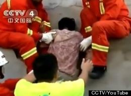 A woman in China became stuck in a wall. Residents took her for a ghost. CCTV/YOUTUBE