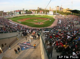 A general view of Frontier Field at the 2013 Pepsi MAX Field of Dreams Game on Saturday, May 18, 2013 in Rochester, NY. (Photo by Bill Wippert/Invision for Pepsi MAX/AP Images)