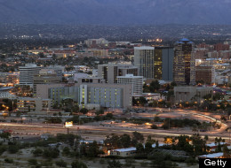 AZ, Tucson, City view from Sentinel Peak