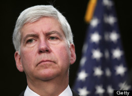 DETROIT, MI - JULY 19: Michigan Gov. Rick Snyder discusses Detroit's bankruptcy filing at a news conference July 19, 2013 in Detroit, Michigan. Detroit's emergency manager Kevin Orr made the Chapter 9 filing yesterday. Detroit owes its approximately 100,000 creditors between $18 and $20 billion. (Photo by Bill Pugliano/Getty Images)